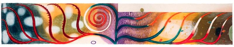 "A Potent Embrace    ,  2005   woodcut (5/16)   18  3/4  "" x 82  3/4  """
