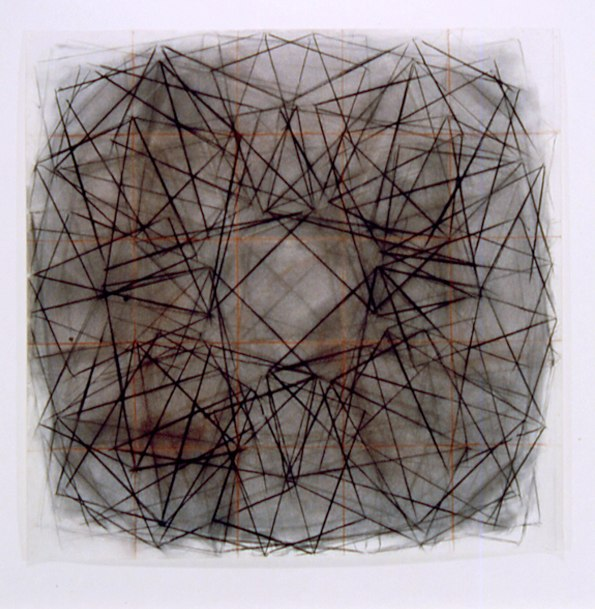 "Rondel 11    ,  2002   charcoal on paper  37"" x 37"""
