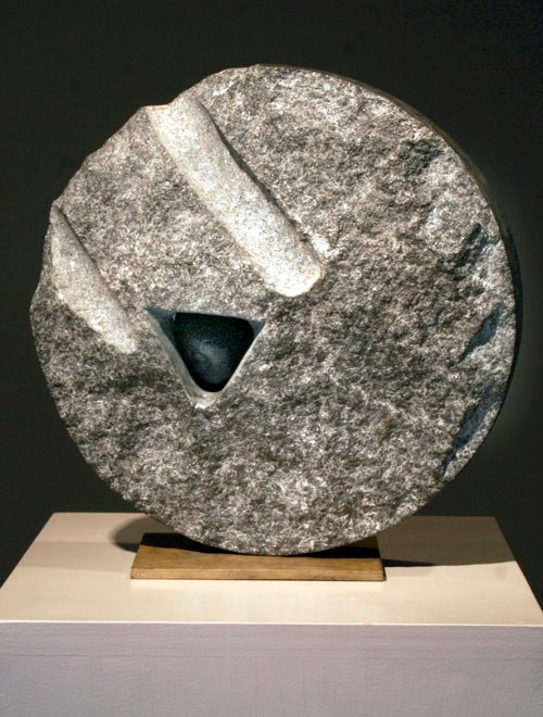 Small Stone of Origin, 1998 black Granite and onyx