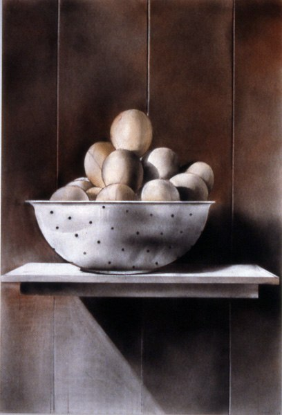"Eggs    ,  2001   conte crayon and dry pigment on paper   41   1/2  "" x 29   1/4  """