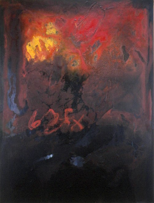 "6X, 1995 acrylic on canvas 48"" x 36"""