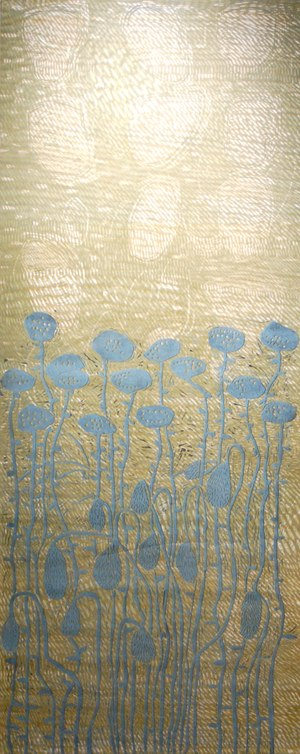 "My Poppies, 2008 woodcut (1/1) 65 1/4"" x 28 3/4"""