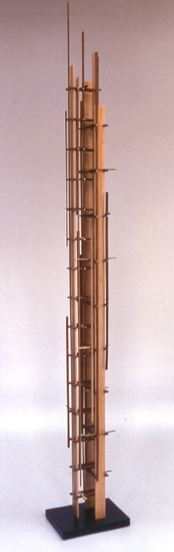 "Mondrain Form    ,  2002   various woods   71"" x 7   1/4  "" x 10"""