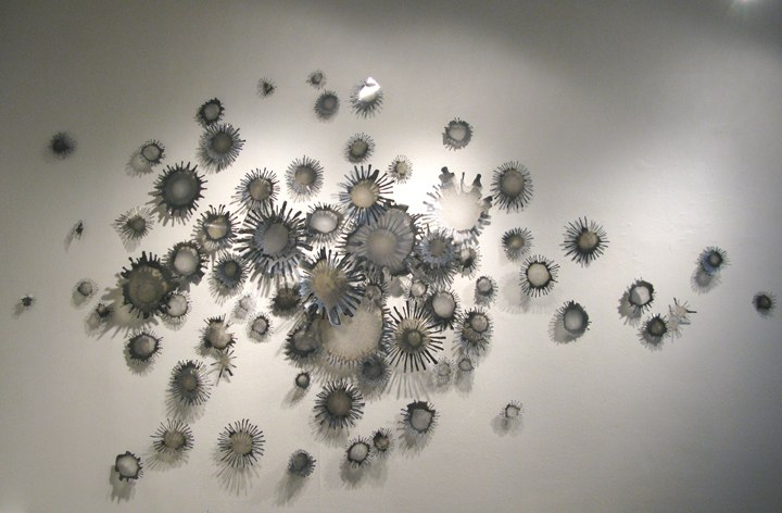 Little Universe Terra (Circual)    ,  2009   acrylic paint on Dura-lar pins, shadows  dimensions variable