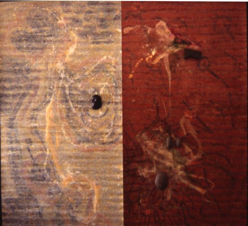 """El Propietario De Las Mesetas Inaccessibles, 2002 acrylic on mylar with stones 41"""" x 41"""" x 3"""""""