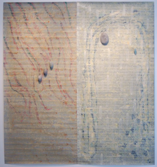 "Un Movimento Sin Treca, 2002 acrylic on mylar with stones 803/4"" x 811/2"" x 2"""