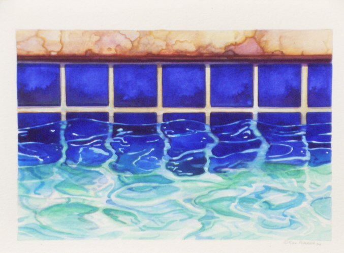 "Pool, 1994 watercolor 15"" x 18"""