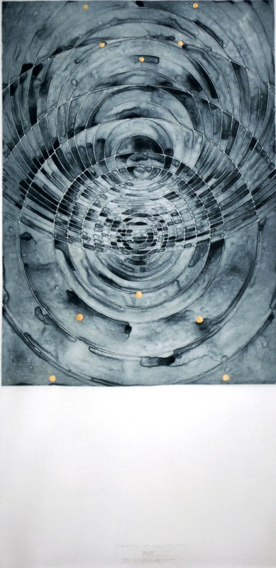 "names of clouds (IV)   , 2008   photopolymer intaglio, acrylic, polymer on linen   35"" x 17   1/2  """