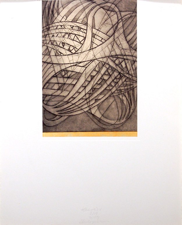 "t(here) VII   , 2009   etching, aquatint, hand painting 10/14  20"" x 16"""
