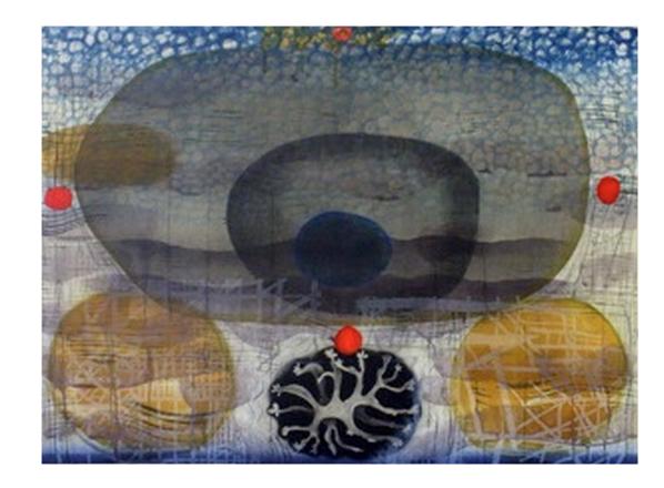 "Echolocation, 2011 woodcut, mezzotint, polymer relief, & mixed media 29"" x 39"""