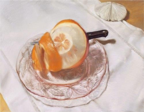 """Orange Spiral""2008 pastel on paper 275/8"" x 331/2"""