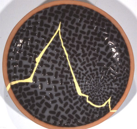 "Invisible Moonbite: Yellow Shift Landscape, 1995 ceramic 18 1/4"" x 2 3/4"""