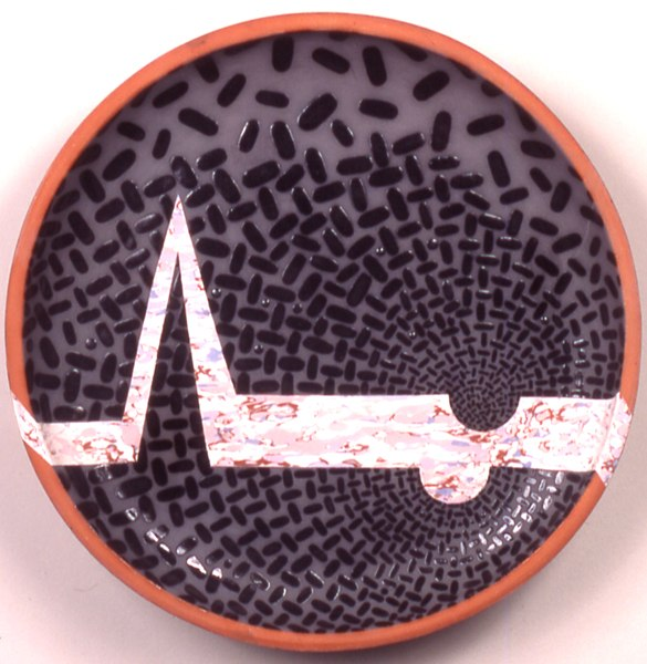 "Landscape with Arctic Moonbite, 1991 ceramic 18"" x 4"""