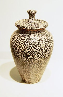 "Lidded Jar    ,  2003   terracotta with low fire glazes   12"" x 6   1/4  "" x 6   1/4  """