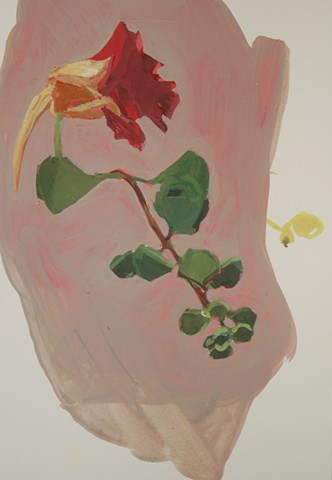 "Red Nasturtium  , 2014  gouache on paper  17"" x 13  1/2 """