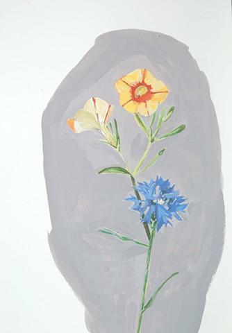 "Cornflower, 2014 gouache on paper 17"" x 131/2"""