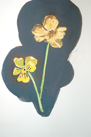 "Yellow Pansy and Nasturtium, 2014 gouache on paper 17"" x 13 1/2"""