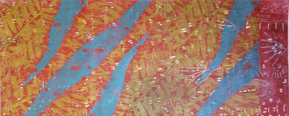 """Blue Ferns,"" 2013, 1/1  woodcut print on Japanese paper  28"" x 65 1/2"""
