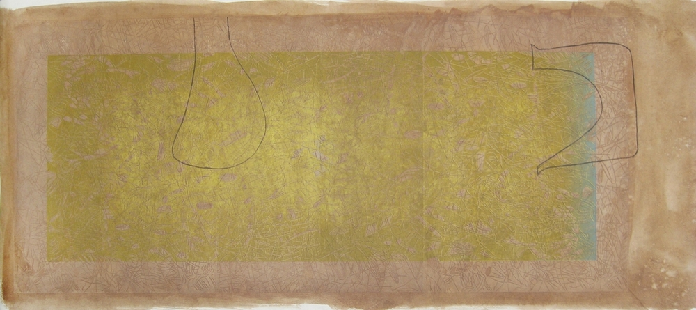 """Persian with Drawings,"" 2013, 1/1A  woodcut print on Japanese paper with Walnut  72 1/2"" x 28"""