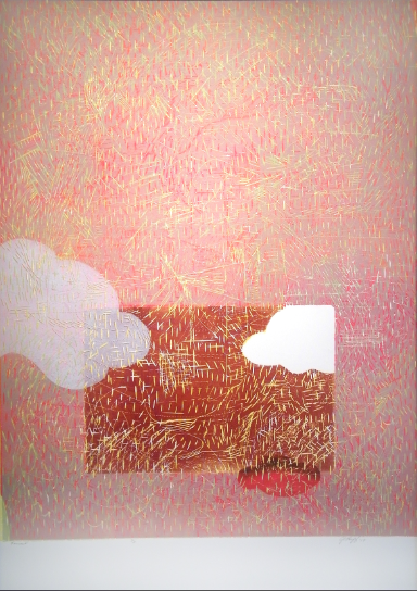 """Forecast,"" 2012 3/3  woodcut print  43 1/4"" x 31 3/8"""