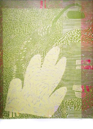 """Playtime,"" 2014 1/2 woodcut print 43 1/4"" x 31 3/8"""