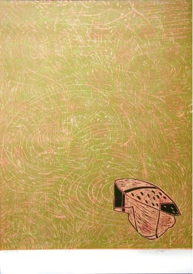 """Polka Dot Cap,"" 2012 1/3  woodcut print  43 1/4"" x 31 3/8"""