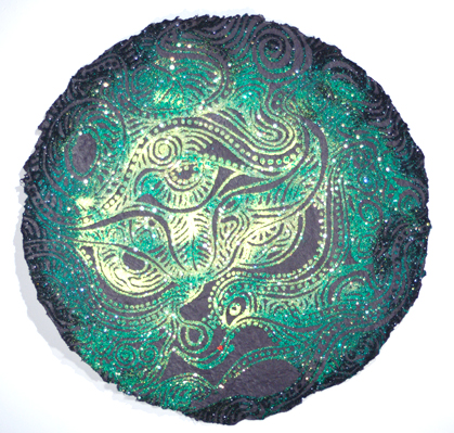 "Dragon Moon    ,  2008   mixed media on handmade paper  25 1/2"" diameter"