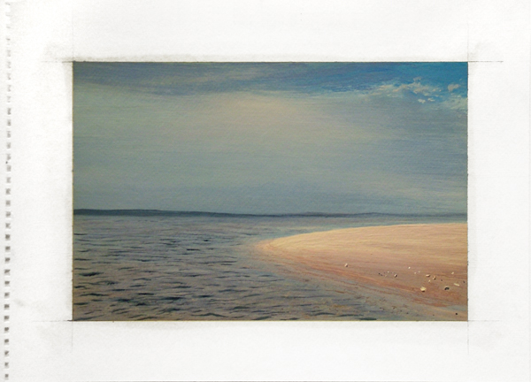 "Sandbar: Shinecock Bay, 2009 oil on paper 14"" x 17"""