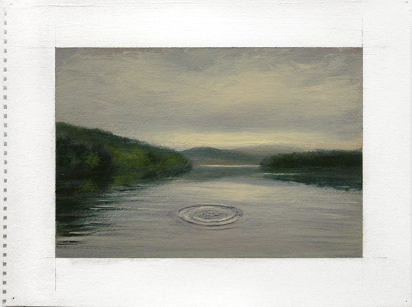 "Catskills: Noah Throws a Stone in the Pepacton Reservoir, 2009 oil on paper 14"" x 17"""