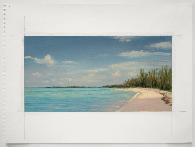 "A Walk on Gilliam Bay: Turtle Cay, Bahamas, 2010 oil on paper 14"" x 17"""