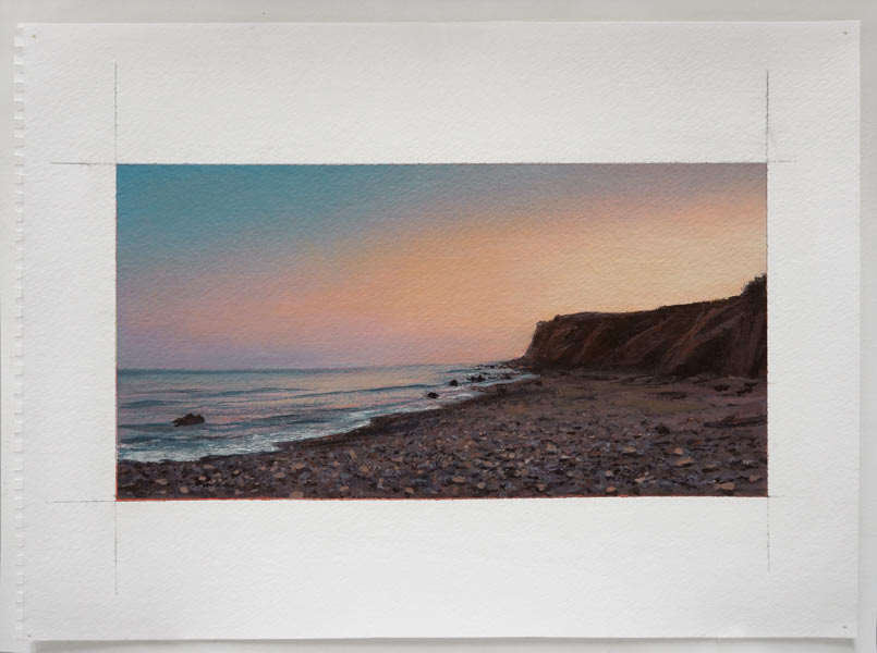 "Sunset From Montauk Point, 2012 oil on paper 14"" x 17"""