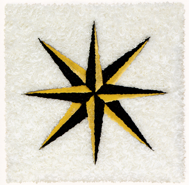 "Black Star ,  2008  relief object with Japanese paper and gold leaf  21 15/16"" x 21 15/16"""