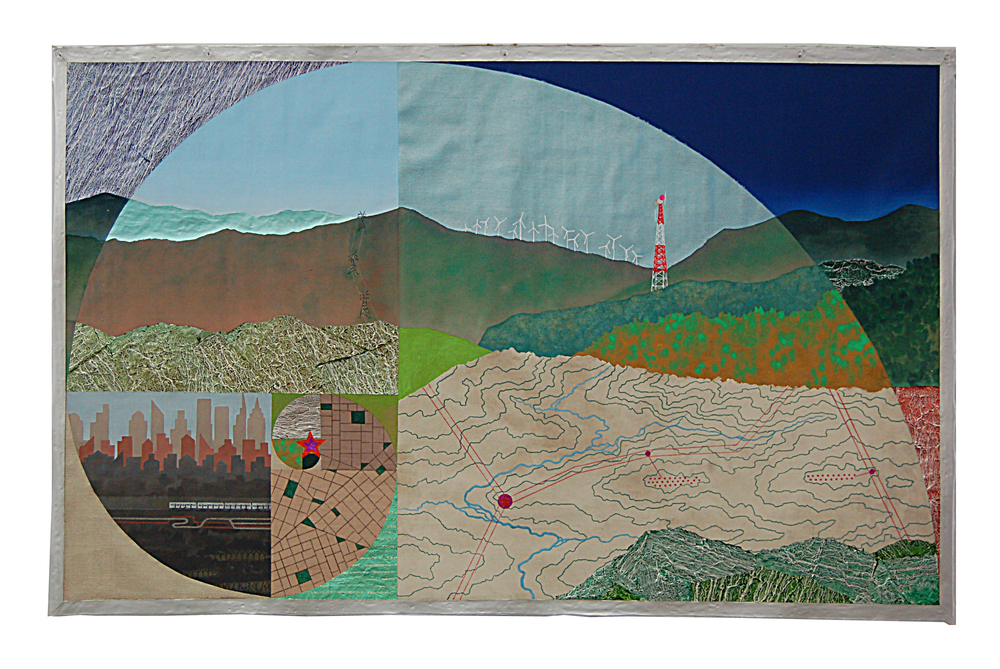 "Fibonacci Landscape  , 2013  mixed media on unstreched canvas  27"" x 43"""