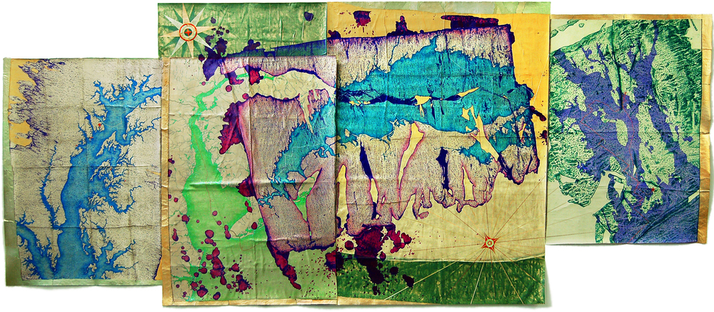 "Northeast Seas Exploration Fragments  , 2011  mixed media on silk backed by canvas  60"" x 143"""