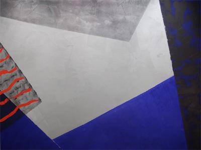 "Indigo, 1990 acrylic on canvas 60"" x 80"""