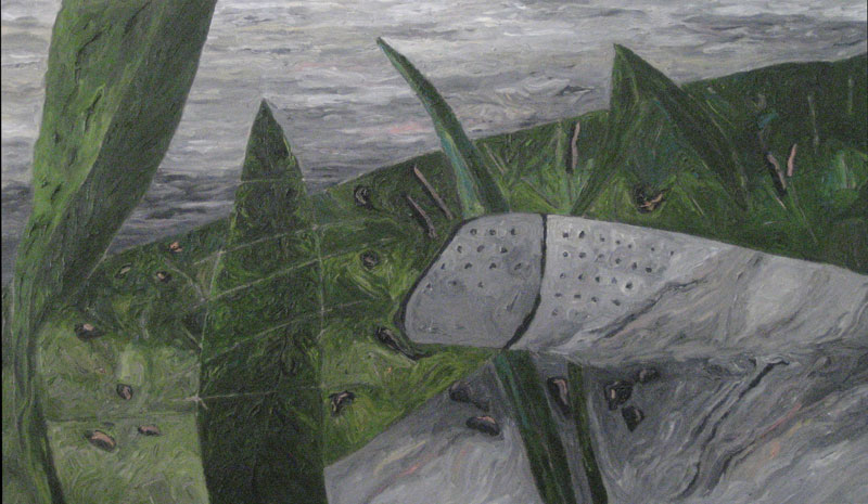 "L. Intrusion, 2013 oil on canvas 32 3/4"" x 55 1/4"""