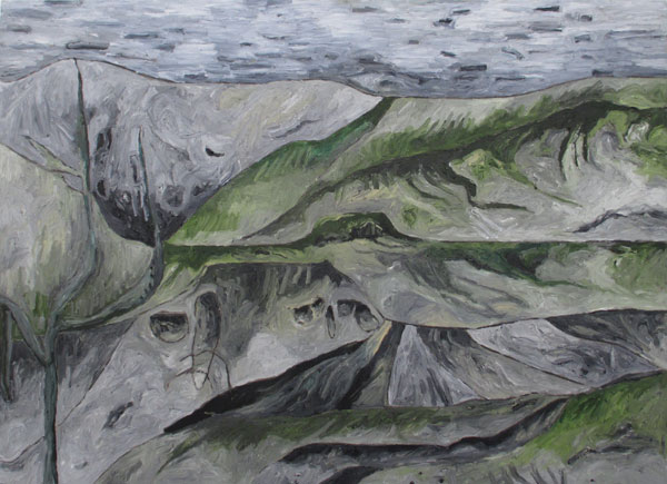 "Feather River/Low Flow  , 2012  oil on canvas  30 3/4"" x 42"""