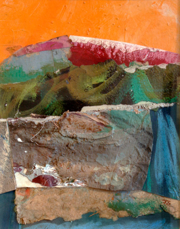 "Hot Summer, 2013 mixed media collage 15 3/4"" x 13 3/4"""