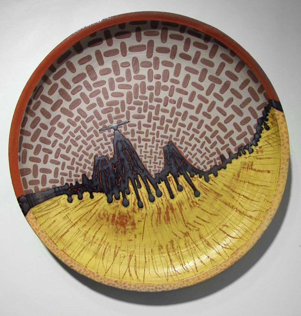 "Mexican Hat Encounter  , 2008  ceramic  16 5/8"" diameter x 2 1/8"""