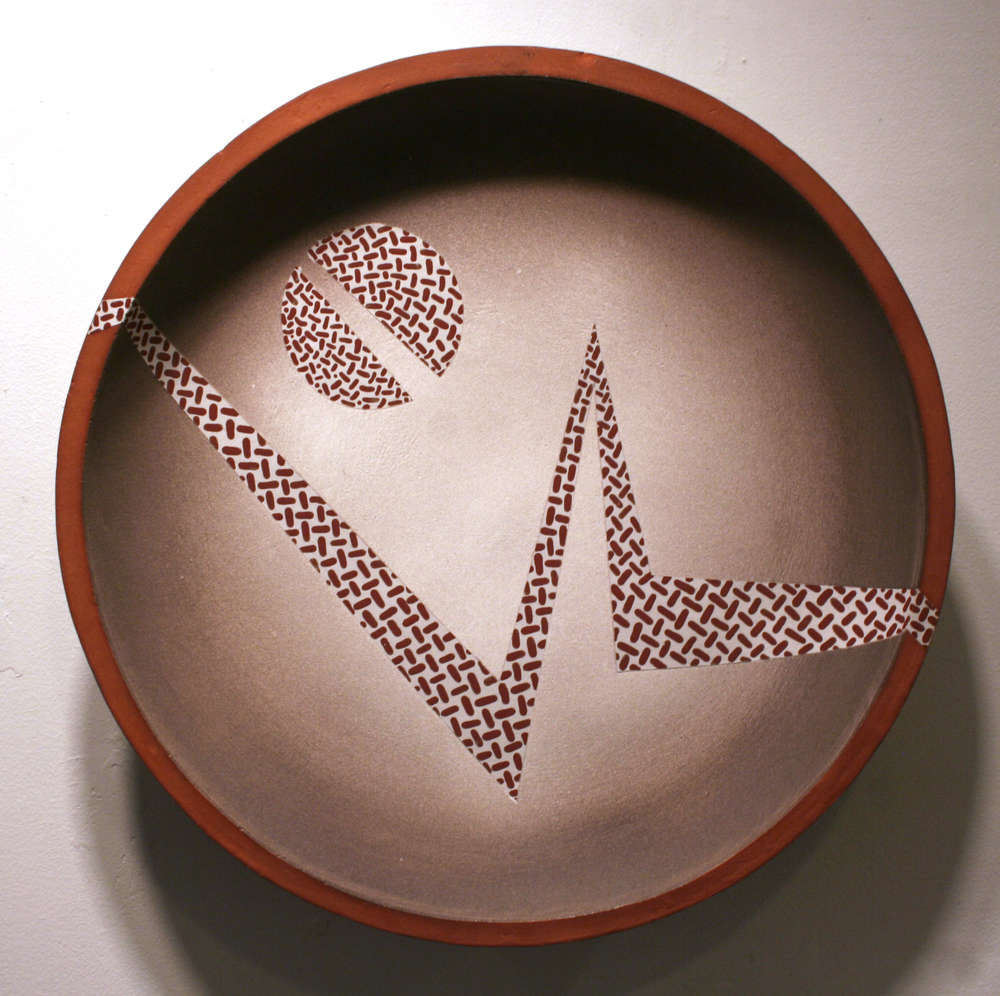 "Landscape with Split Moonbite  , 1990  terra cotta  17"" diameter x 4 1/2"""