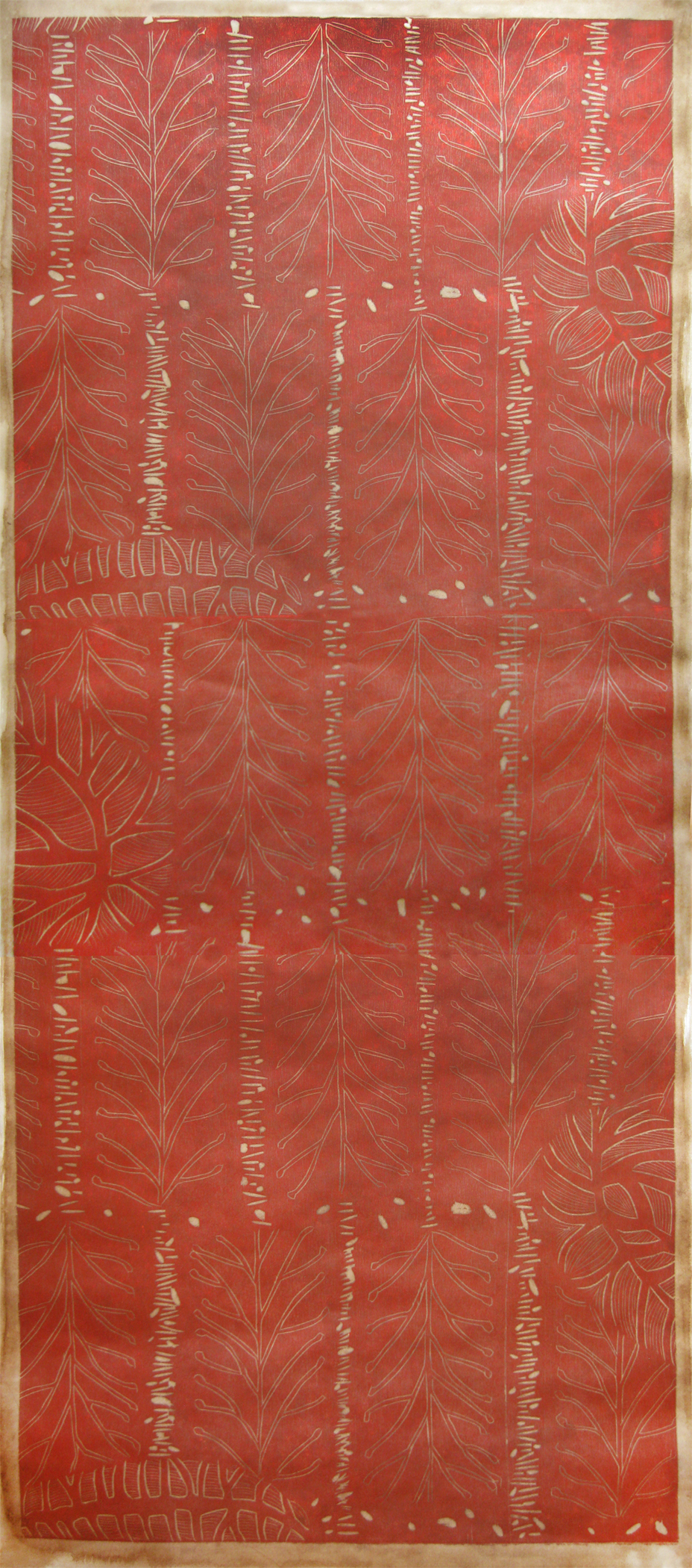 "Forest Red   2012  woodcut print on Japanese paper with Walnut (1/1)  72 1/2"" x 28"""