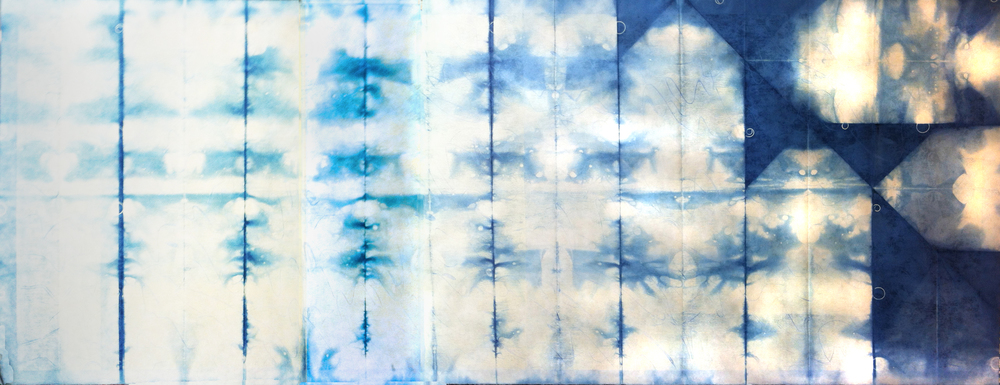 "Blu Script Verso   2012  woodcut print on Japanese paper with Indigo dye (1/1)  27 1/2"" x 72 1/2"""