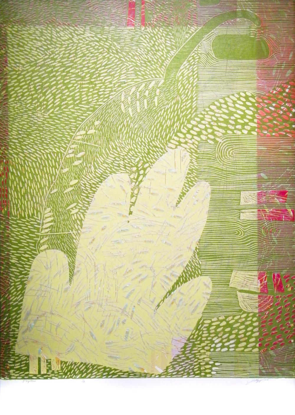 "Playtime  2014  woodcut print (1/2)  43 1/4"" x 31 3/8"""