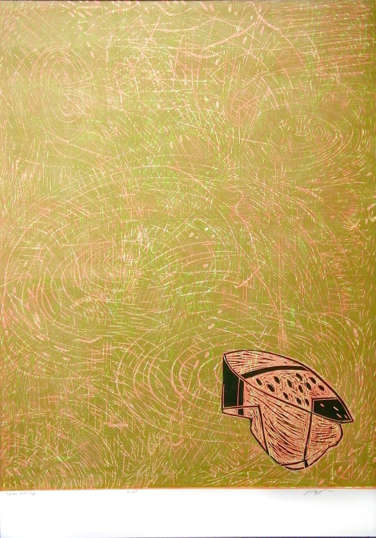 "Polka Dot Cap  2012  woodcut print (1/3)  43 1/4"" x 31 3/8"""