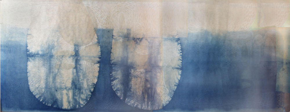 "Two Forms 2012 woodcut print on Japanese paper with indigo dye (1/1) 27 1/2"" x 72 1/2"""