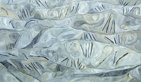 "James Kuiper    White Aria  , 2005  oil on canvas  44 1/2"" x 72 1/2"""