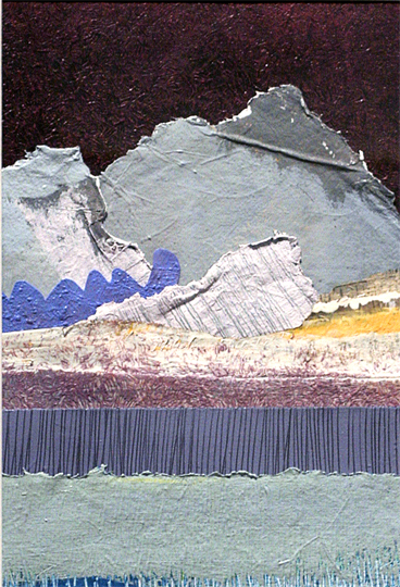 "Janet Sorokin Moonscape, 2000 acrylic/collage 20 1/2"" x 15 3/4"""