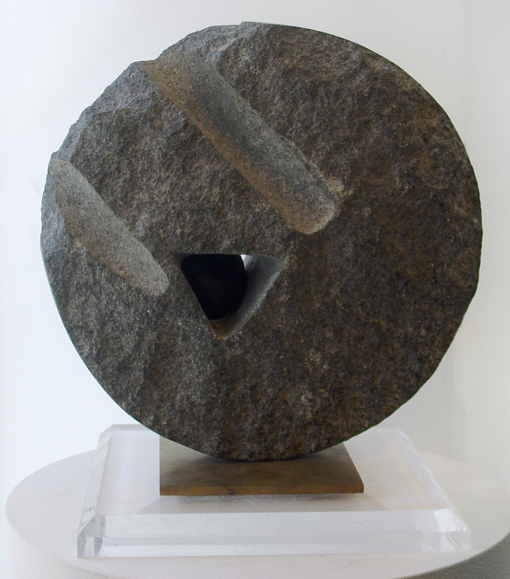 "Lika Mutal    Small Stone of Origin  , 1998  black granite and onyx  12"" x 12"" x 5 1/4"""
