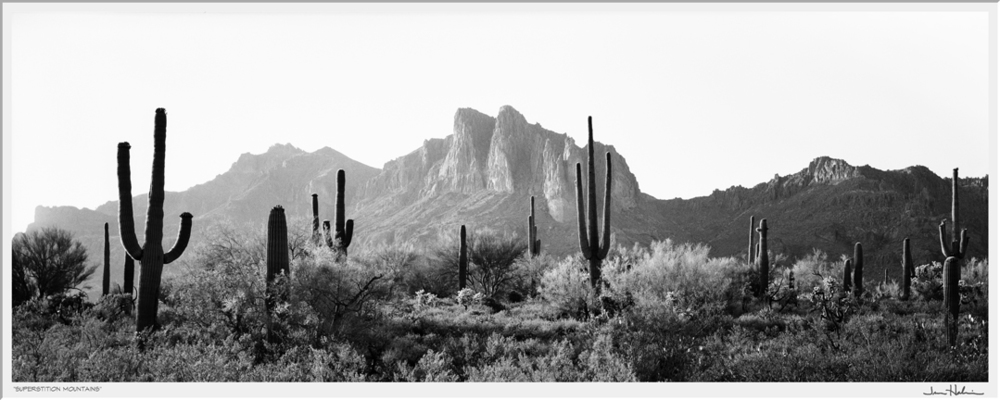 """Superstition Mountains,"" 1988 black and white photograph, print #29 31 1/8"" x 41 1/4"""