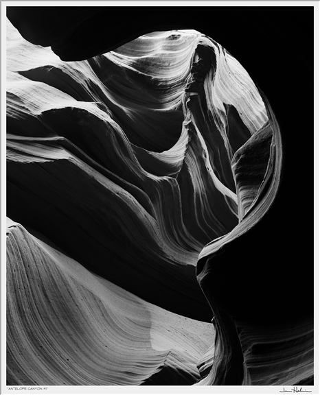 """Antelope Canyon #1,"" 2004 black and white photograph, print #2 29 1/8"" x 25 1/8"""